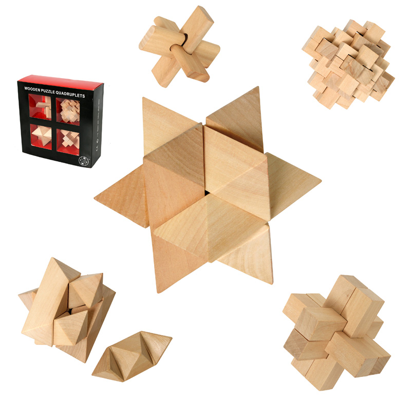 quadruplets holzpuzzle knobelspiel 3d puzzle 4 st ck ebay. Black Bedroom Furniture Sets. Home Design Ideas