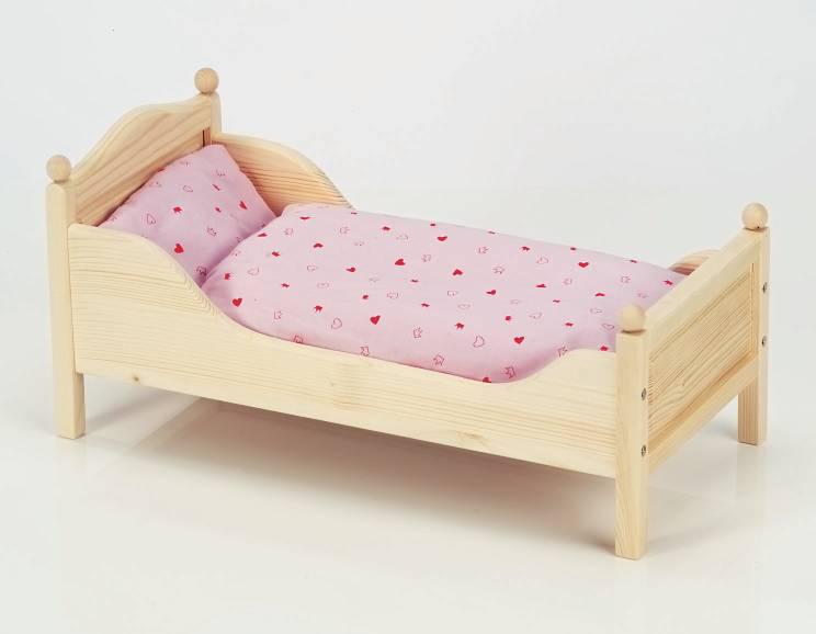 puppenbett holzbett babypuppen puppe puppenbettchen holzpuppenbett holz neu ebay. Black Bedroom Furniture Sets. Home Design Ideas