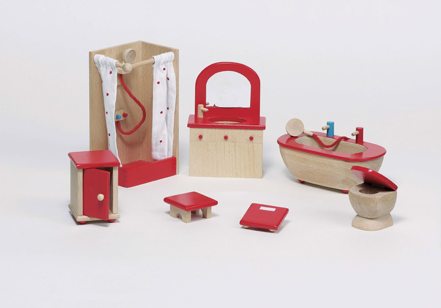Wellensittich Dusche Selber Bauen : Hocker Dusche Holz : Details zu Puppenhausm?be l BADEZIMMER natur 7