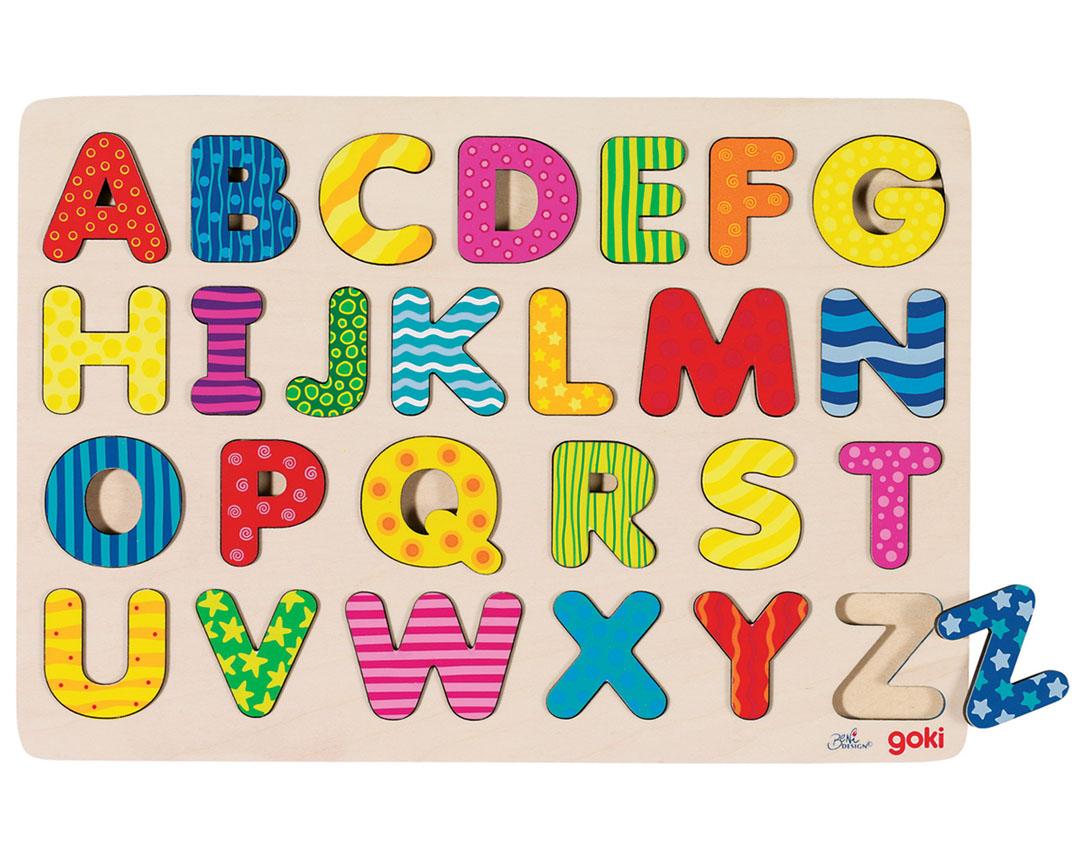 PUZZLE Alphabet ABC Setzpuzzle Steckpuzzle Holzpuzzle ...